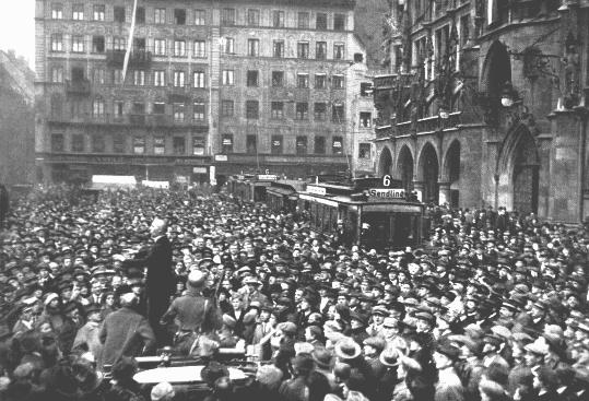 A large crowd gathers in front of the Rathaus to hear the exhortations of Julius Streicher during the Beer Hall Putsch, Hitler's early unsuccessful attempt to seize power. Munich, Germany, November 1923.