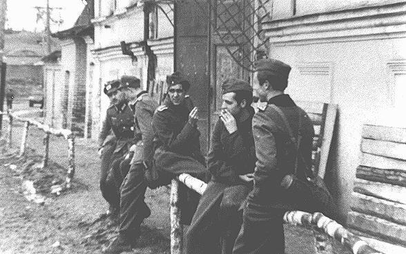 Membres du mouvement de résistance de la Rose blanche pendant le service militaire obligatoire sur le front oriental. La guerre féroce qui y était menée renforça leur opposition aux nazis. Union soviétique, 1942.