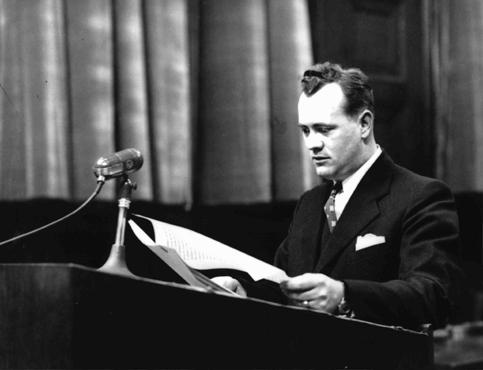 Alexander G. Hardy, associate counsel for the prosecution, during the Doctors' Trial. Nuremberg, Germany, December 9, 1946-August 20, 1947.