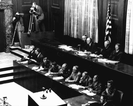 American judges (top row, seated) during the Doctors' Trial. Presiding Judge Walter B. Beals is seated second from the left. Nuremberg, Germany, December 9, 1946-August 20, 1947.
