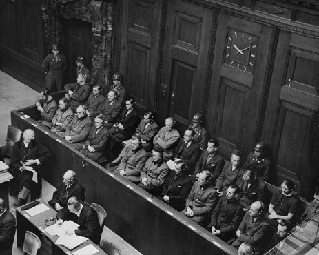 The defendants' dock and members of the defense counsel during the Doctors' Trial. Nuremberg, Germany, December 9, 1946-August 20, 1947.
