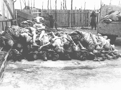 A pile of corpses in the Buchenwald concentration camp after liberation. Buchenwald, Germany, May 1945.
