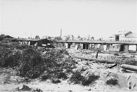 Post-liberation view of the Russian Camp (Hospital Camp), a section of the Mauthausen concentration camp. Mauthausen, Austria, May 1945.