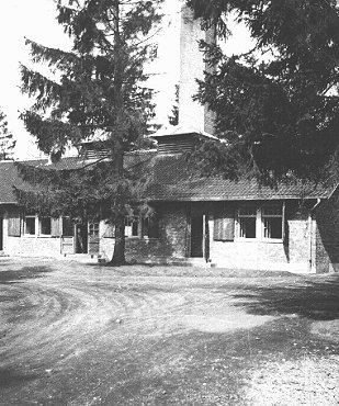 View of the crematorium building at the Dachau concentration camp. This photograph was taken after the liberation of the camp. Dachau, Germany, after April 29, 1945.