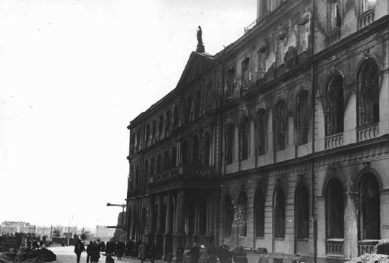 German forces occupied Riga in early July 1941. Here, war damage to Riga's city hall is evidenced by blackened areas around the building's windows. Riga, Latvia, August 1941.