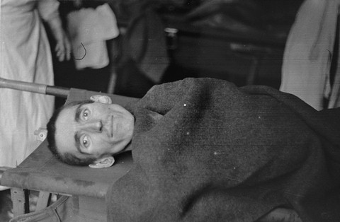 A Langenstein survivor being evacuated to a hospital. Langenstein, Germany, April 1945.