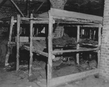 Sleeping quarters in Wöbbelin, a subcamp of Neuengamme concentration camp. This photograph was taken upon the liberation of the camp by US forces. Germany, May 5, 1945.