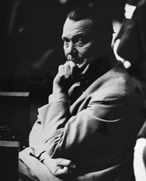 Defendant Hermann Goering in the prisoners' dock at the International Military Tribunal.