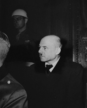 Defendant Fritz Sauckel in the International Military Tribunal courtroom.