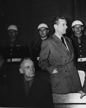 Joachim von Ribbentrop (left), former German Foreign Minister, and Baldur von Schirach (right), former leader of the Hitler Youth, during a recess at the International Military Tribunal.