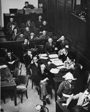 The French prosecution table at the International Military Tribunal trial of war criminals at Nuremberg.