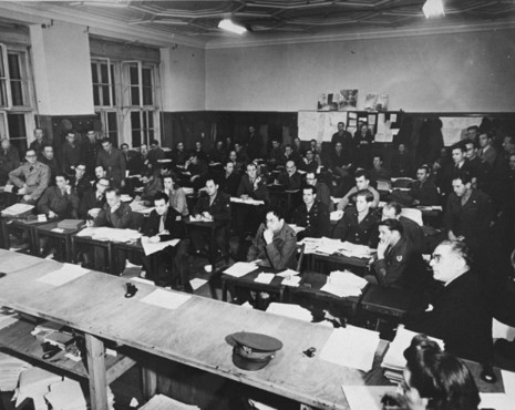 The press room at the International Military Tribunal. Nuremberg, Germany, between November 1945 and October 1946.