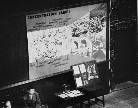 Photographs, artifacts, and a map presented as evidence at the International Military Tribunal. Nuremberg, Germany, between November 20, 1945, and October 1, 1946.