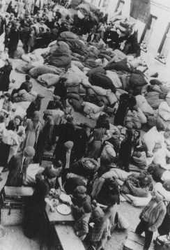 Jews deported to the Lodz ghetto. Poland, 1941 or 1942.