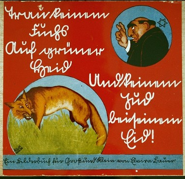 "Cover of an antisemitic German children's book titled ""Trust No Fox in the Green Meadow and No Jew on his Oath."" Germany, 1936."