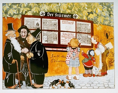 "Illustration from a German antisemitic children's book titled ""Trust No Fox in the Green Meadow and No Jew on his Oath"" (translation from German). The headlines depicted in the image say ""Jews are our misfortune"" and ""How the Jew cheats.""  Germany, 1936."