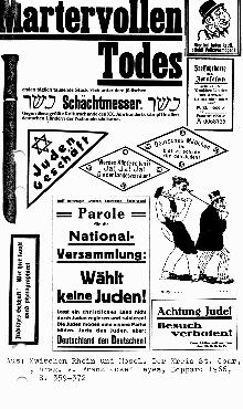 Assortment of antisemitic handbills, posters, and stickers. Germany, 1919.