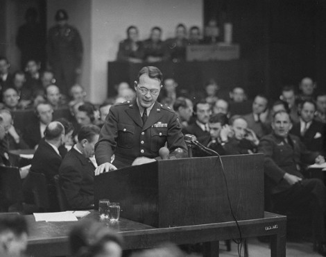 Brigadier General Telford Taylor, the US chief counsel, delivers the prosecution's opening statement at the Ministries Trial. January 6, 1948.
