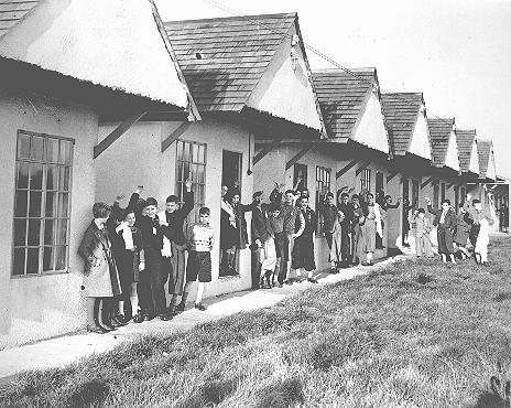 Jewish refugee children from Germany—part of a Children's Transport (Kindertransport)—at the holiday camp at Dovercourt Bay, near Harwich, shortly after their arrival in England. Dovercourt Bay, Great Britain, after December 2, 1938.