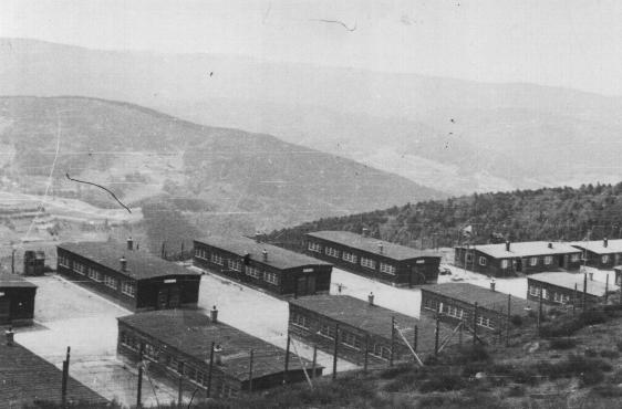 Barracks in the quarry camp of the Natzweiler-Struthof concentration camp. Natzweiler, France, after April 7, 1945.