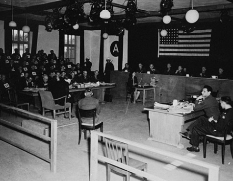 The tribunal hears the testimony of a witness at the Mauthausen concentration camp trial.