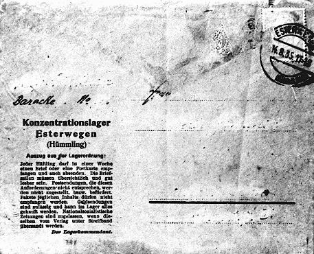 Official postcard for use by prisoners of the Esterwegen concentration camp. The text at the left side gives instructions and restrictions to inmates about what can be mailed and received. Germany, August 14, 1935.