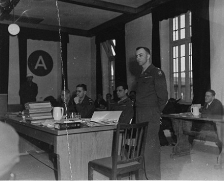 The American prosecution team at the Mauthausen concentration camp trial. Standing is US Chief Prosecutor Lieutenant Colonel William Denson.