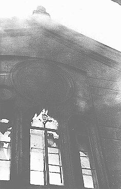 "The Neue Weltgasse synagogue burns during the Kristallnacht (""Night of Broken Glass"") pogrom. Vienna, Austria, November 9, 1938."
