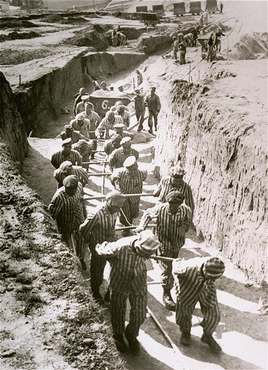 Forced labor in the quarry of the Mauthausen concentration camp. Austria, date uncertain.