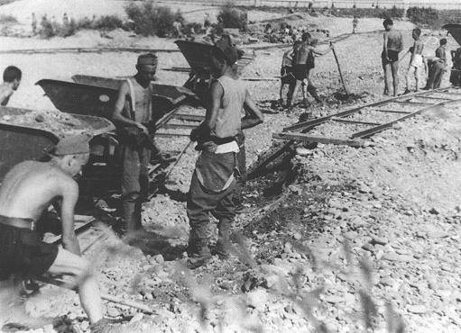 Conscripts of Hungarian Labor Service Company VIII/2 at work laying railroad track. Huszt, Hungary, 1942.