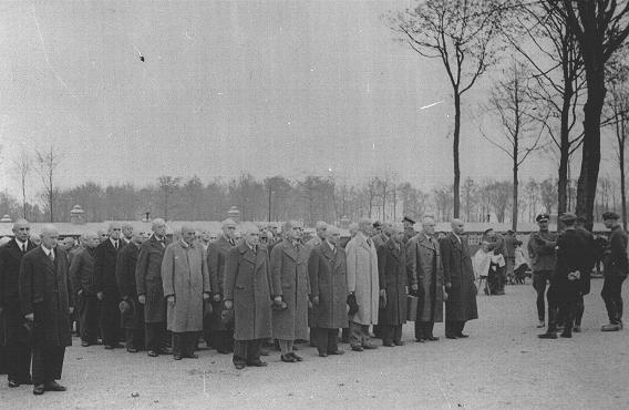 Newly arrived prisoners at the Buchenwald concentration camp. Buchenwald, Germany, 1938-1940.