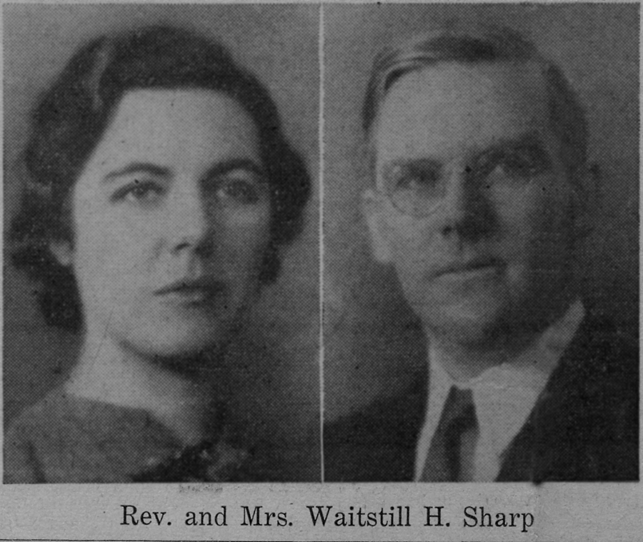 Portraits of Martha and Waitstill Sharp from an unknown newspaper. Published before they left for Europe on a relief mission with the Unitarian Service Committee.
