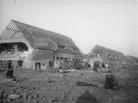 View of the ruins of the central barracks (Boelke Kaserne) in the Nordhausen concentration camp. This photograph was taken after liberation. Germany, April 1945.