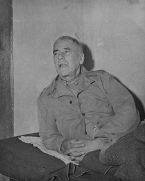 Defendant Wilhelm Frick in his prison cell at Nuremberg.
