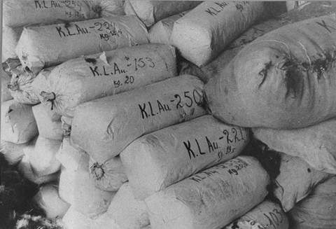Hair of women prisoners, prepared for shipment to Germany, found at the liberation of the Auschwitz killing center. Poland, 1945.