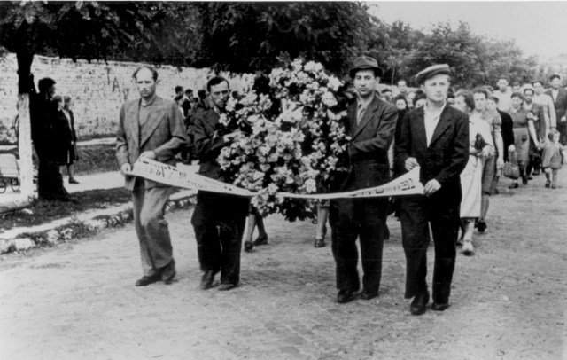 Funeral procession for victims of the Kielce pogrom. Kielce, Poland, July 1946.