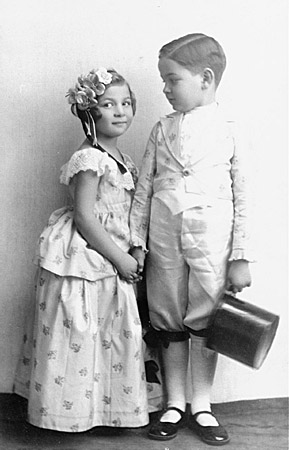 Alice and Heinrich Muller pose for a photograph while in costume for the Purim holiday. Hlohovec, Czechoslovakia, ca. 1934-1935.