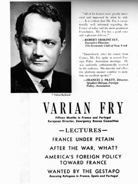 An advertisement for a series of lectures by Varian Fry, who worked in France to help anti-Nazi artists and intellectuals escape to the United States. New York, United States, 1942.