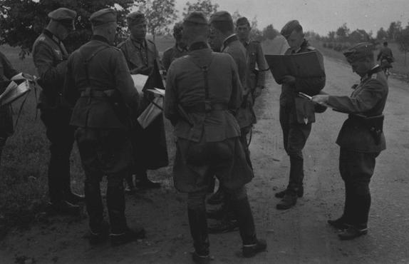 German officers review their orders during the invasion of the Soviet Union in 1941.