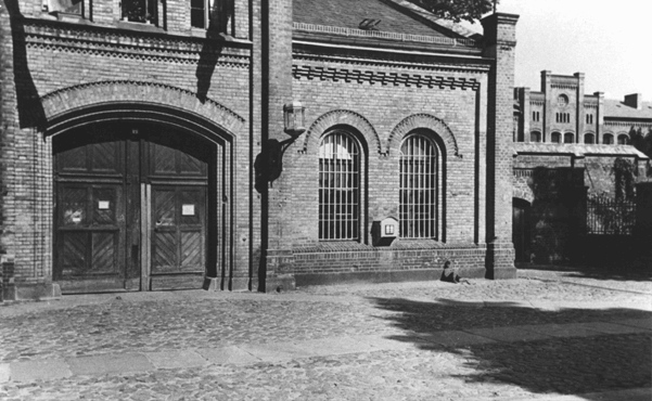 Entrance to the Ploetzensee prison. At Ploetzensee, the Nazis executed hundreds of Germans for opposition to Hitler, including many of the participants in the July 20, 1944, plot to kill Hitler. Berlin, Germany, postwar.