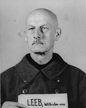Mug shot of former Field Marshal Wilhelm Ritter von Leeb, a defendant in the High Command Case.