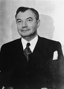 US Chief Prosecuter Robert H. Jackson, pictured at the time of the International Military Tribunal (1945–1946). In 1941, Jackson had been appointed to the US Supreme Court. Justice Jackson took a leave of absence from the court in 1945 to serve as chief US war crimes prosecutor at the Nuremberg trials of former German leaders. He returned to the Supreme Court in 1946.