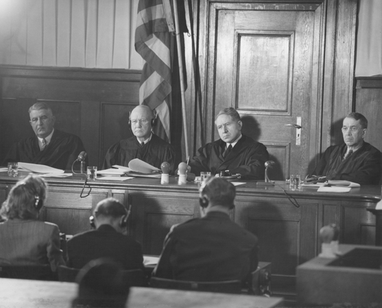 The judges pictured during a session of the Milch Trial. Pictured from left to right are F. Donald Phillips, Robert M. Toms, Michael A. Musmanno, and John J. Speight.
