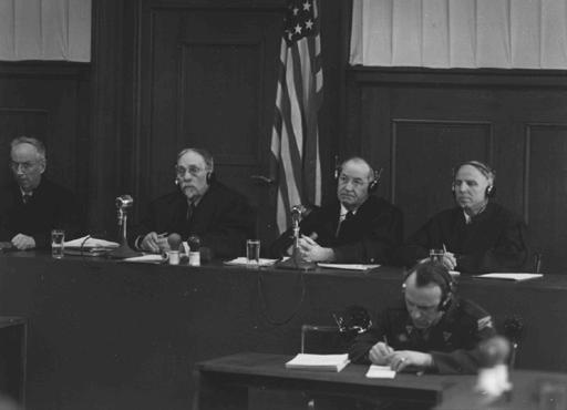 The four judges of Military Tribunal III hearing the Justice Case. From left to right are James T. Brand, Carrington T. Marshall, Mallory B. Blair, and Justin W. Harding.