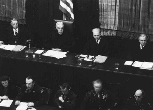 The judges at the Flick Trial. From left to right are Frank N. Richman, Charles B. Sears, William C. Christianson, and Richard D. Dixon.