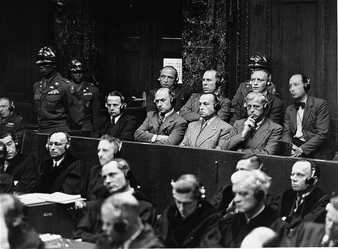 The defendants in the dock during the Einsatzgruppen Trial.