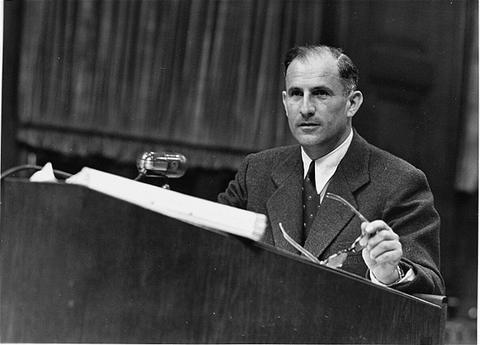 American prosecutor Robert Kempner during the Ministries Trial.
