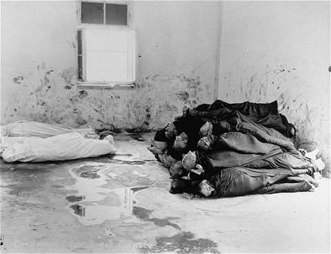Corpses are piled in the crematorium mortuary in the newly liberated Dachau concentration camp. Dachau, Germany, May 1945.