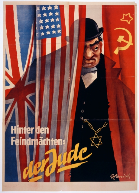 "Nazi propaganda often portrayed Jews as engaged in a conspiracy to provoke war.  Here, a stereotyped Jew conspires behind the scenes to control the Allied powers, represented by the British, American, and Soviet flags.  The caption reads, ""Behind the enemy powers: the Jew.""  Circa 1942."
