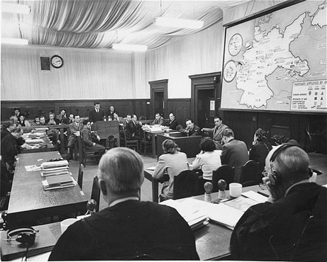The courtroom during the Krupp Trial.